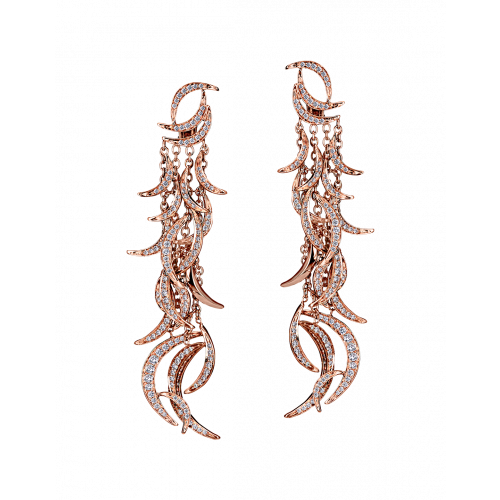 Jacob's Plume Rose Gold Earrings 316 Cut Diamonds