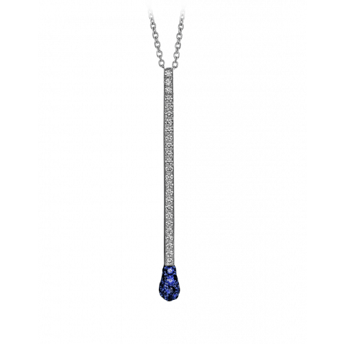 White Gold Sapphire and Diamond Pave Match Necklace Long