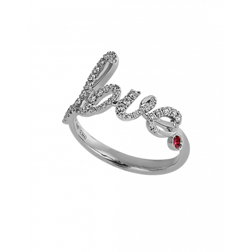 White Gold Pave Love Ring Ruby