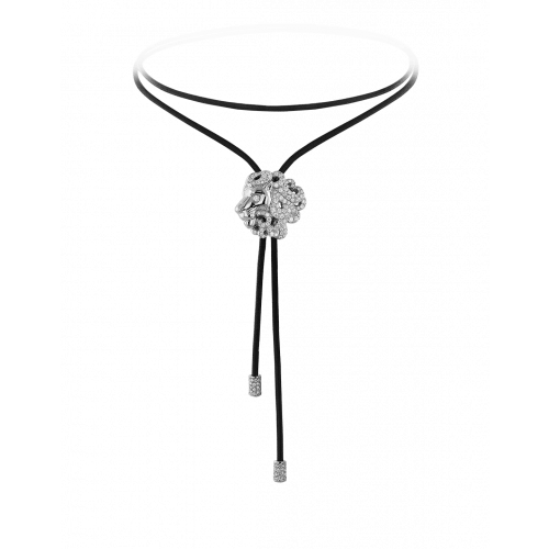 Zodiac Leo String Necklace White Gold Diamond