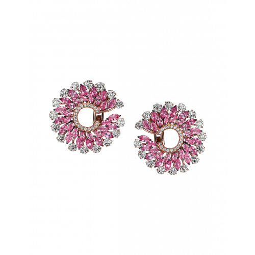 Rose Gold Pink Sapphire Infinia Earrings