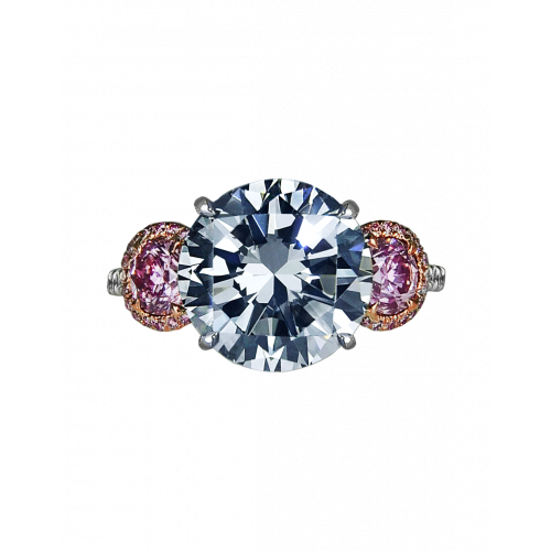 Fancy Dark Grey and Pink Three-Stone Diamond Ring