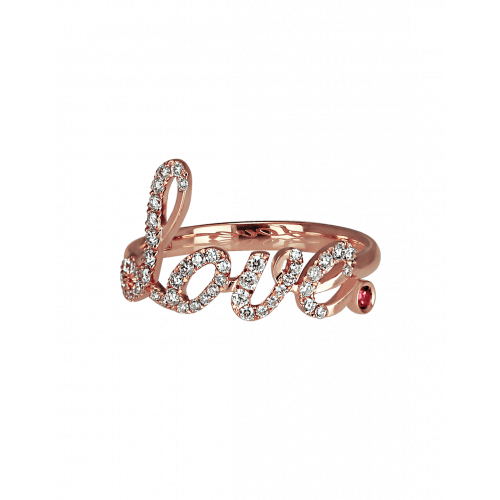 Rose Gold  Love Ring Ruby