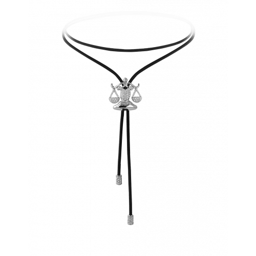Zodiac Libra String Necklace White Gold Diamond