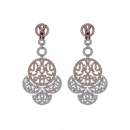 Lace Two Tone Diamond Lace Earrings