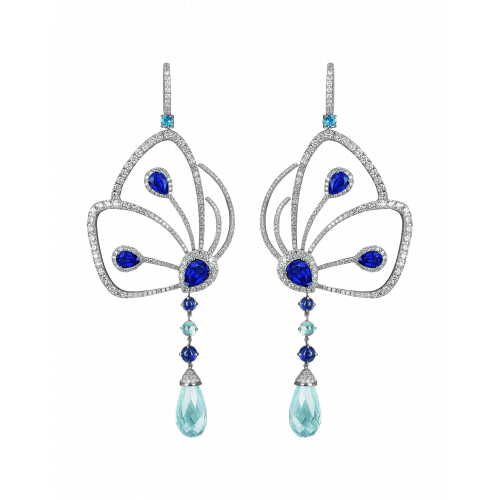 Blue Sapphire Papillon Earrings