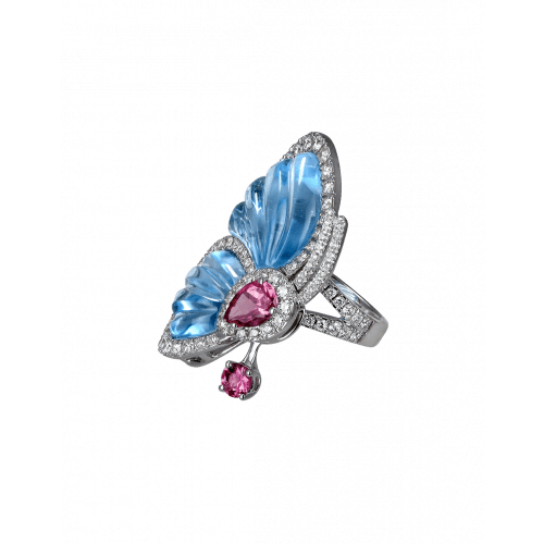 Blue Topaz Papillon Ring
