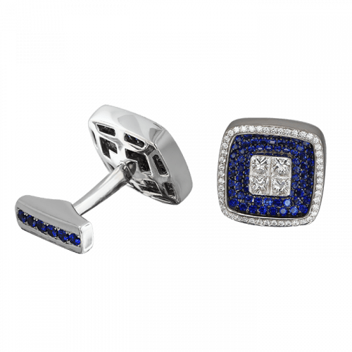 Square Cufflinks Sapphires and White Diamonds