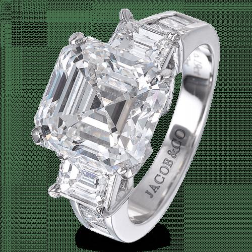 Three-Stone Square Emerald-Cut Bridal