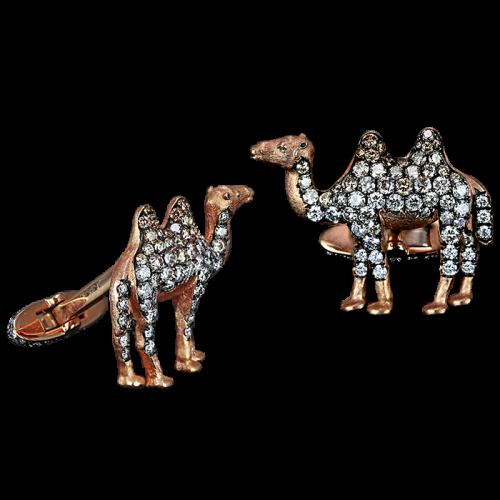 Rose Gold Multi-color Diamonds Camel Cufflinks