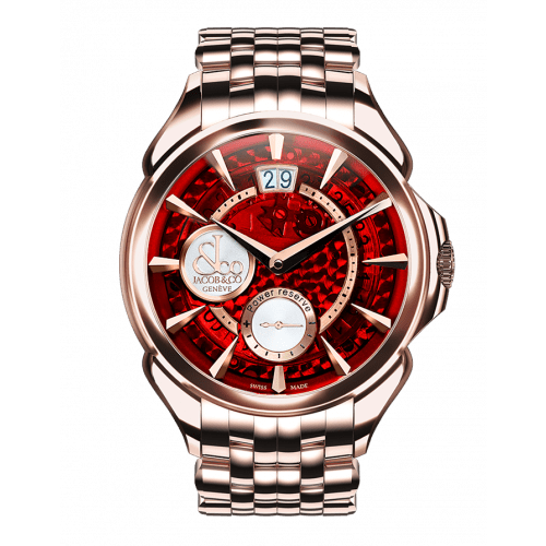 Palatial Classic Manual Big Date Red Mineral Crystal Dial | Rose Gold Case & Bracelet