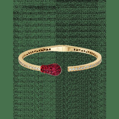 YELLOW GOLD DIAMOND MATCH CUFF BRACELET