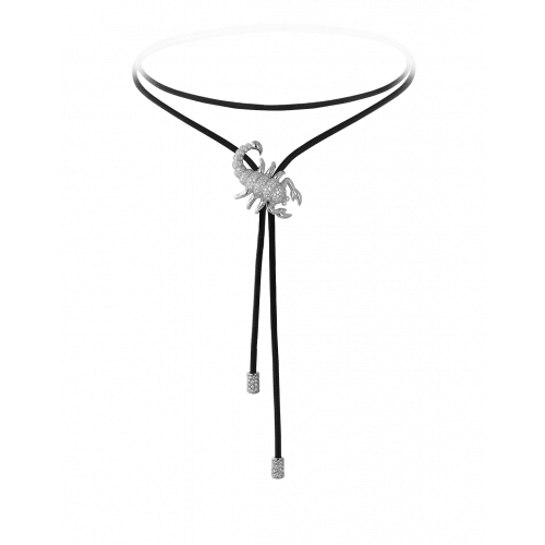 Zodiac Scorpio String Necklace White Gold Diamond
