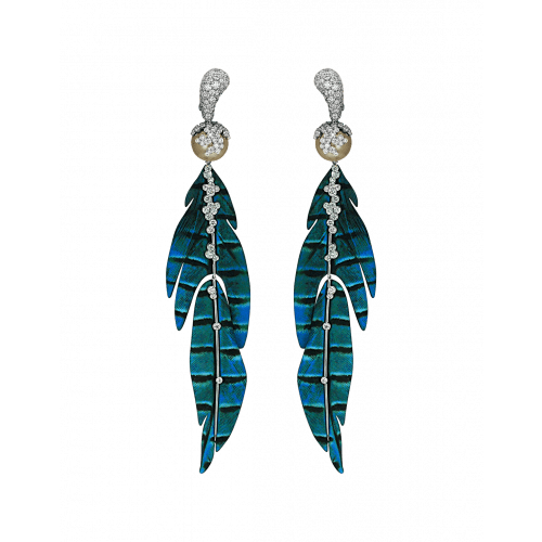 St. Barths Titanium and White Gold Blue Leaf Earrings