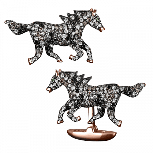 Rose Gold Pave Horse Cufflinks