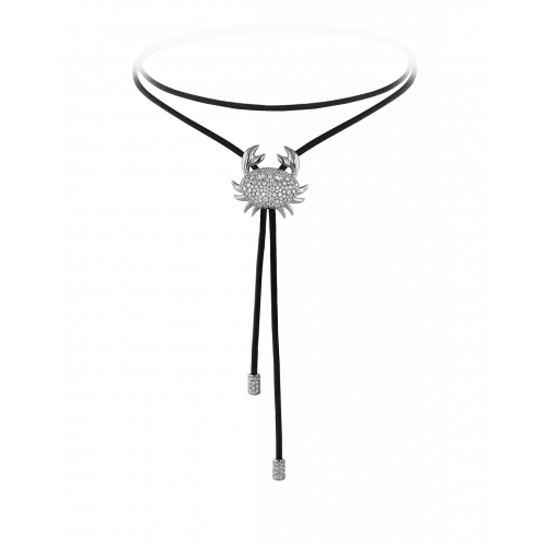 Zodiac Cancer String Necklace White Gold Diamond