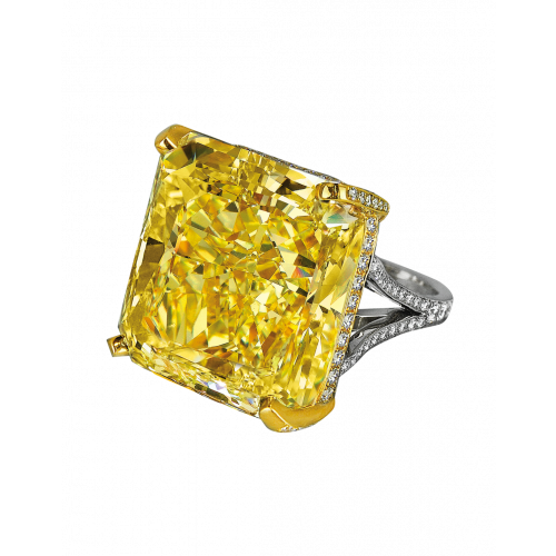 Fancy Vivid Yellow Radiant Cut Diamond Ring