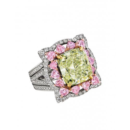 Natural Fancy Intense Yellow Green Diamond Ring
