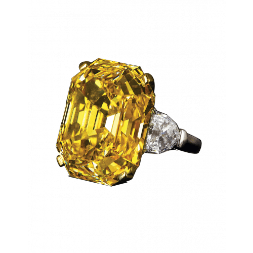 Fancy Intense Yellow Emerald Cut Diamond Ring