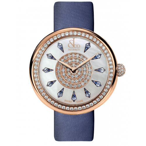 Brilliant One Row Rose Gold Blue Sapphires 44mm