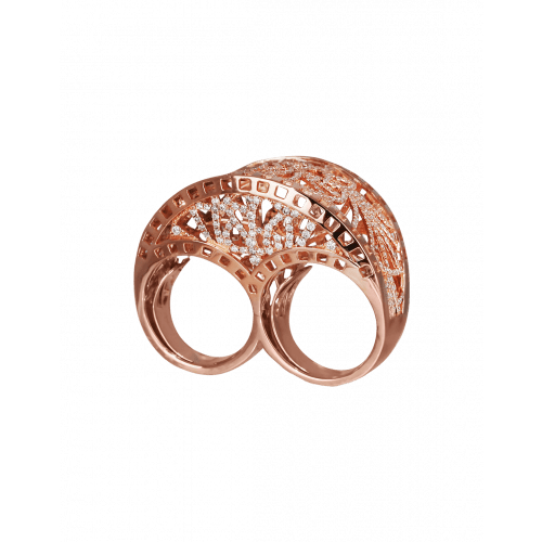 Two Finger Rose Gold Cocktail Ring