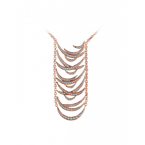 Jacob's Plume Rose Gold Necklace 2.74 Carats.