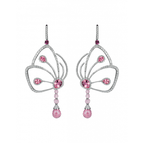 Pink Tourmaline Papillon Earrings