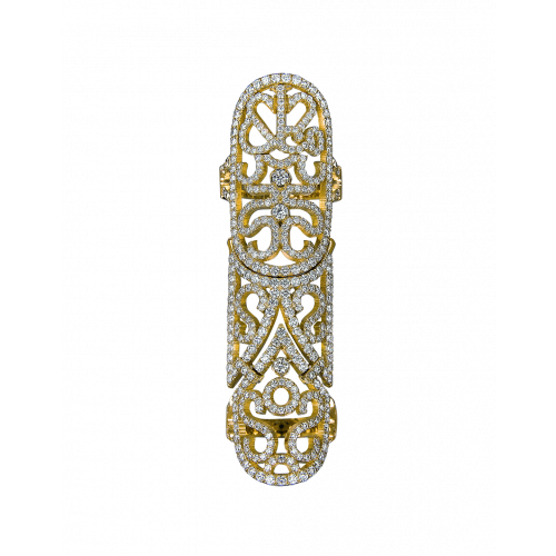 Lace Yellow Gold Diamond Lace Full Finger Ring