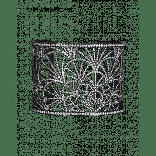 Abanico Cuff Black Plated Bracelet