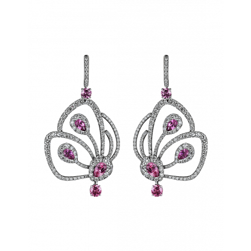 Short Pink Tourmaline Papillon Earrings