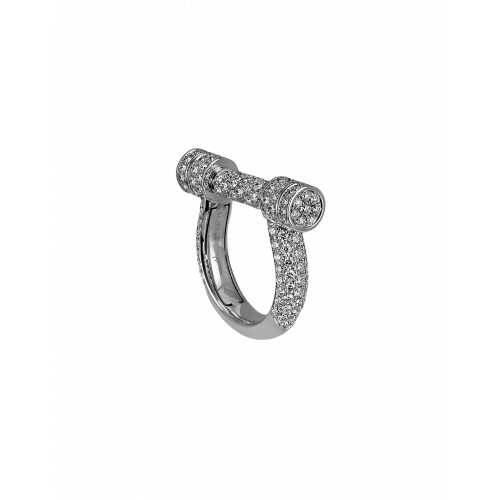 White Gold Estribo Full Pave Ring