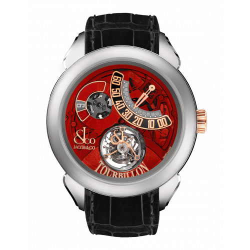 Palatial Flying Tourbillon Jumping Hours Titanium (Red Mineral Crystal)