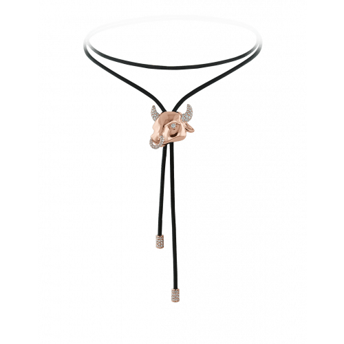 Zodiac Taurus String Necklace Rose Gold Diamond