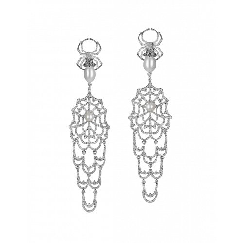 Jacob's Web Long Earrings with White Pearls