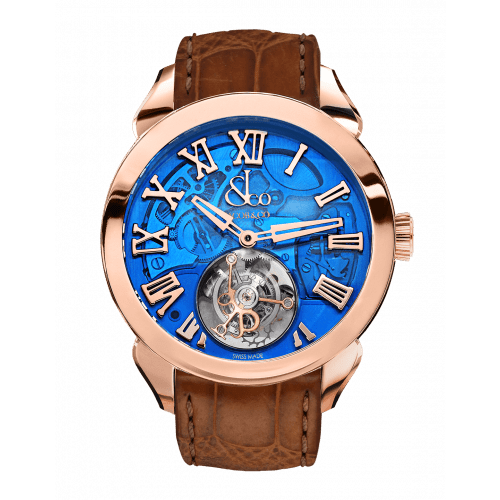 Palatial Flying Tourbillon Hours & Minutes Rose Gold (Blue Mineral Crystal)