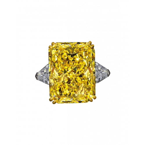 Fancy Intense Yellow Radiant Cut Diamond Ring