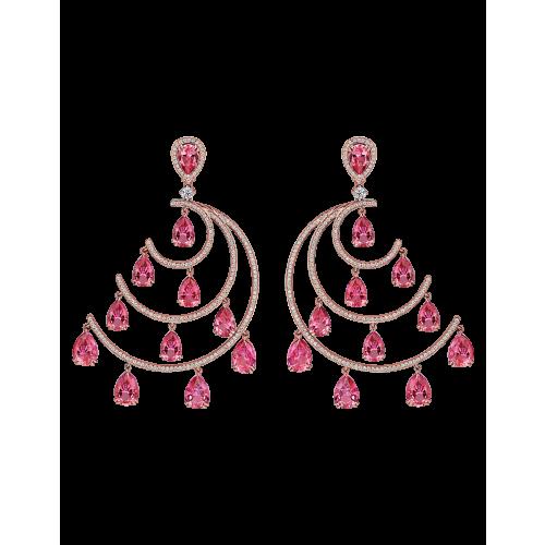 Crescent Moon Topaz Chandelier Earrings