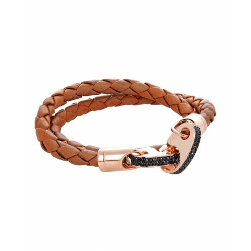 Perfect Fit Bracelet Double Strap Rose Gold White Diamonds on Baked Brown Leather