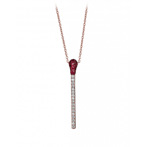 Ruby and Diamond Match Necklace Short