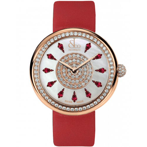 Brilliant One Row Rose Gold Ruby 44mm
