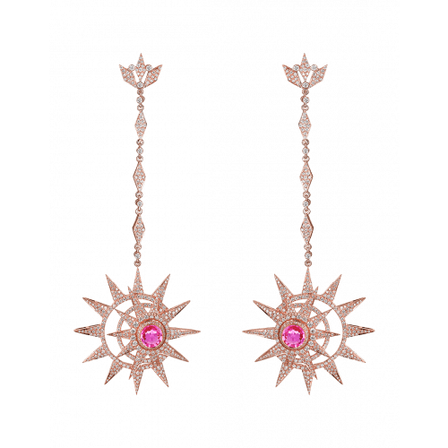 Rose Gold Long Earrings with Pink Sapphire