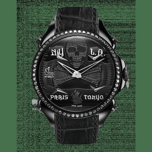 Palatial Five Time Zone Pirate Black PVD Black Diamond Set Dial & Bezel
