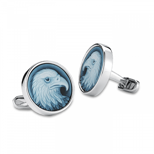 White Gold Carved Blue Agate Eagle Cufflinks