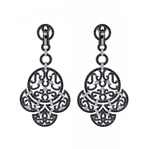 Lace Black Plated Diamond Lace Earrings