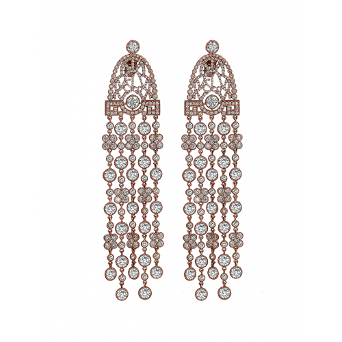 Jezebel Rose Gold White Diamond Earrings Long