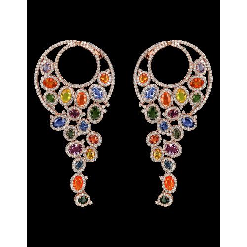 Rose Gold Multicolor Earrings