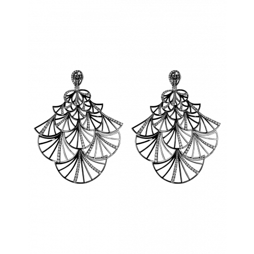 Half Pave Black Plated Fan Earrings