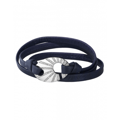 Perfect Fit Bracelet with White Diamonds on Navy Blue Leather Strap