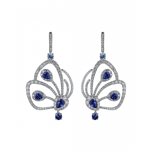 Short Blue Sapphire Papillon Earrings