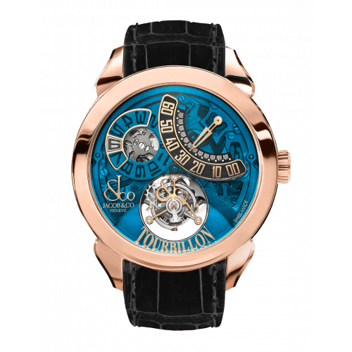 Palatial Flying Tourbillon Jumping Hours Rose Gold (Blue Mineral Crystal)
